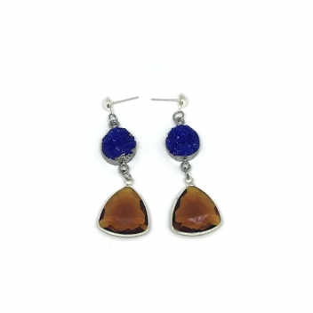 Blue and brown boreal earrings