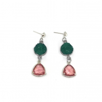 Green and pink boreal earrings