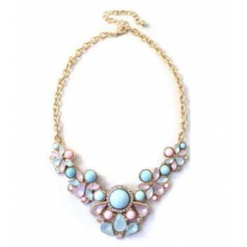 Pearl necklace pink and blue