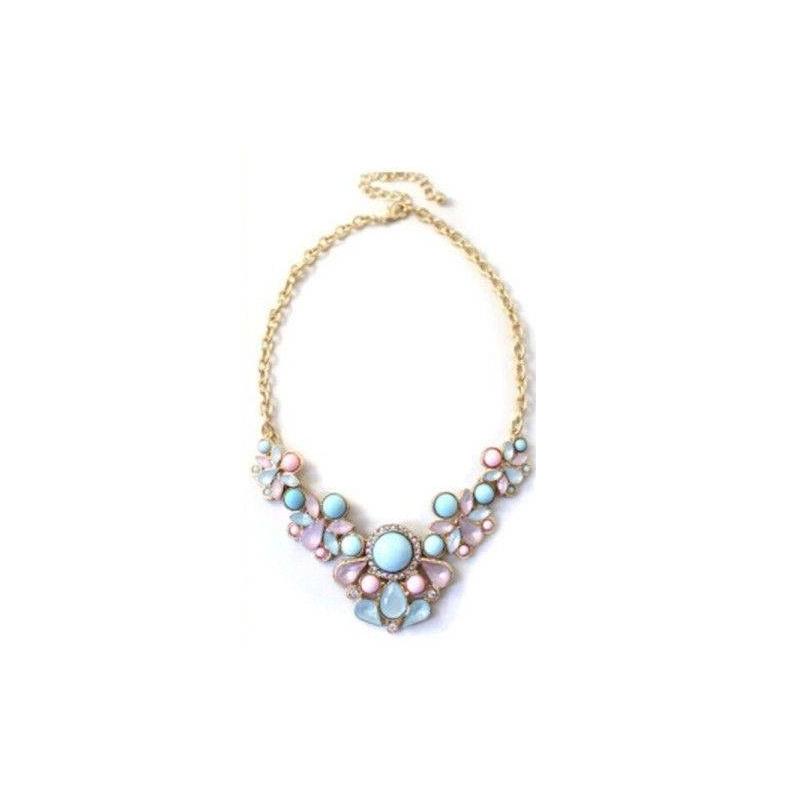 57b7da13dd4e Collar de perlas de colores. Cadena de color oro y ajustable. Cierre de  mosquetón.