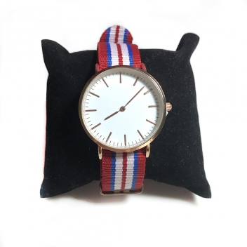 Red striped watch