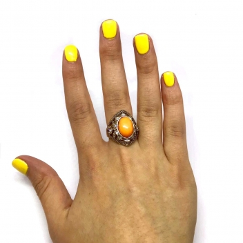 Orange pearl ring