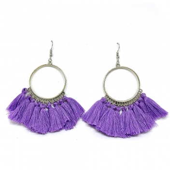 Hoop earrings with violet...