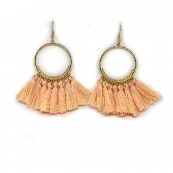 Fringe hoop earrings white...