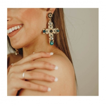 Gold cross earrings and...