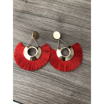 Triangle earrings and red...