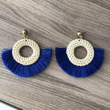 Circle earrings and blue...
